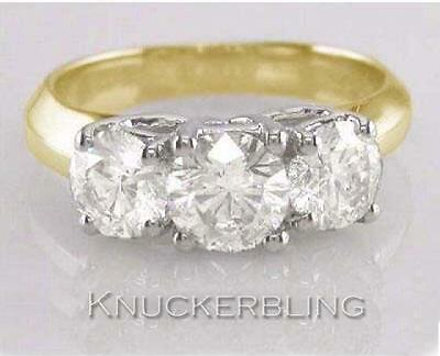 Diamond 3-Stone Trilogy Ring 2.00ct Round Brilliant Cut In 18ct Yellow Gold • 4,900£