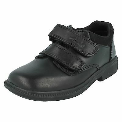 Boys Clarks Deaton Infant Hook & Loop Smart Formal School Shoes Leather Size • 25£