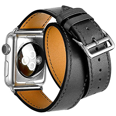 AU20.62 • Buy BLACK Genuine Leather Double Tour Bracelet Strap Band For Apple Watch 38mm/42mm