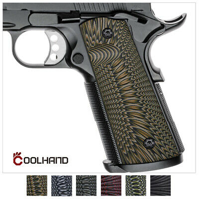 $25.99 • Buy 1911 Full Size G10 Gun Grips Magwell Cut Ambi Safety Sunburst Texture Coolhand