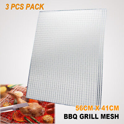 AU22.95 • Buy 3x BBQ Steel Grill Mesh 56x41cm Fish Meat Net Barbecue Camping Outdoor Mat Clamp