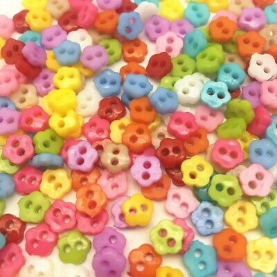 25, 50 Tiny Baby Mini 6mm Flower Shaped Buttons, Mixed Sweet Colour, Doll Craft • 0.99£