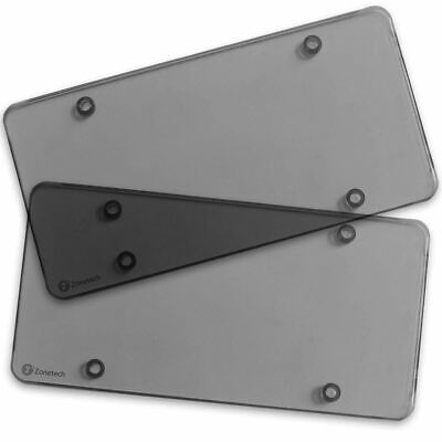 $7.40 • Buy Zone Tech 2x Smoked Flat License Plate Cover Shield Tinted Plastic Tag Protector