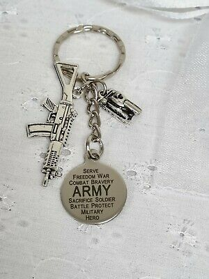 Army Soldier Keyring Bag Charm With Organza Gift Bag • 3.80£