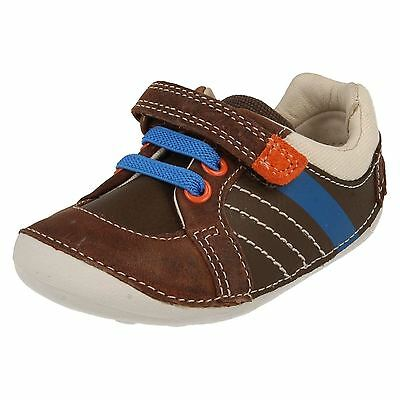 Boys Clarks Tiny Myle Cruiser Hook & Loop Casual Laces First Walking Shoes Size • 19.99£