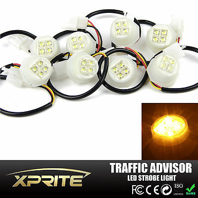 $66.49 • Buy Xprite 8x Amber LED Hide A Way Strobe Lights Emergency Flash Headlight Bulbs 20W