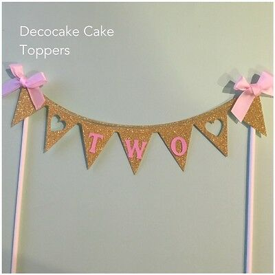 AU14.95 • Buy 2nd Birthday Cake Topper Gold Glitter Bunting   Aus Seller