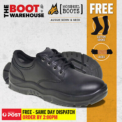 AU119.95 • Buy Mongrel Boots, 210025, Steel Toe,  Black 'Derby', Safety Work Shoe.  FREE LACES!