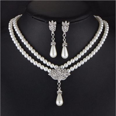 £10 • Buy Multi Layer White Pearls Beads Choker Necklace Earring Set Vintage Bride Wedding