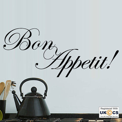Wall Stickers Bon Appetit Food Kitchen Restaurant French Art Decal Vinyl Room • 12.99£