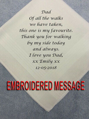 £7.50 • Buy FATHER OF THE BRIDE PERSONALISED MENS HANKIEs FAVOURITE WALK DAD'S WEDDING GIFTS