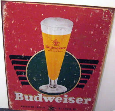 $ CDN7.73 • Buy Budweiser Retro Glass Metal Sign,  Adult, Unisex, (apo & Fpo Customers Welcome)