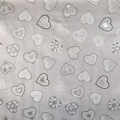 Pvc Table Cloth Love Hearts Grey White Linen Look Vintage Lace Slate Wipe Able • 7.99£