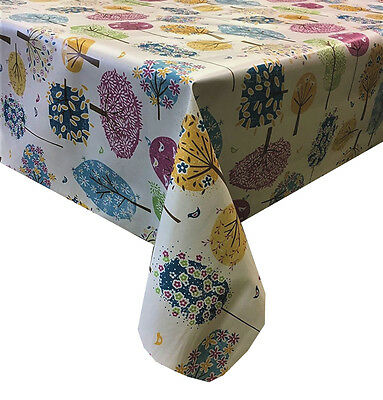 Pvc Table Cloth Trees Vintage Birds Daisy Flowers Leaf Blue Pink Yellow Wipeable • 11.99£