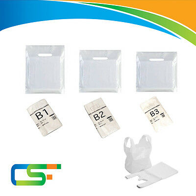 White Plastic Carrier Bags With Strong Patch Handle B1, B2, B3 Sizes • 1.49£