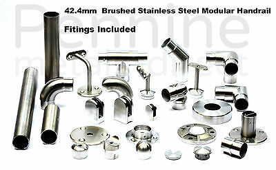 £5.60 • Buy STAINLESS STEEL HANDRAIL SYSTEM 42.4mm Ø Brushed Finish Excellent Quality Trade£