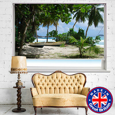 £178.21 • Buy Boats On The Tropical Palm Beach Printed Picture Roller Blinds Blackout Remote