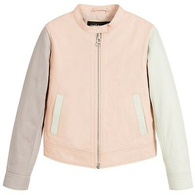 Molo Baby Girls Pink Grey Green Leather Jacket 4 Years • 64£