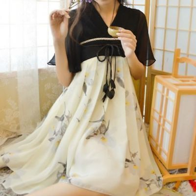 $ CDN39.66 • Buy Chinese Tradition Hanfu Zixun Flower Dress Ink Painting Flying Sleeves Vintage