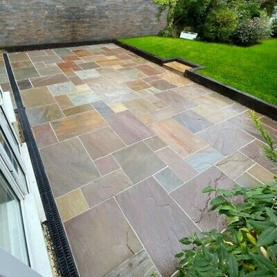 Raj Green 18.9m2 Indian Sandstone Paving Slabs Flags 48hr Nationwide Delivery ✔ • 4.99£