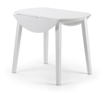 Julian Bowen Coast White Wood Kitchen Round Dining Drop Leaf Table Only • 84.99£