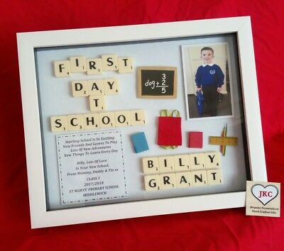 £24.99 • Buy FIRST DAY At SCHOOL Picture Frame Keepsake SCRABBLE Gift With Photo