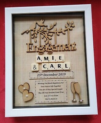 ENGAGEMENT GIFT FRAME Personalised Picture Keepsake Engaged Scrabble • 23.99£