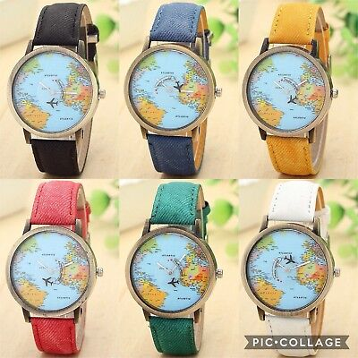 New World Map Dial Moving Airplane Analog Quartz Watch Unisex Men Women Vintage • 3.99£