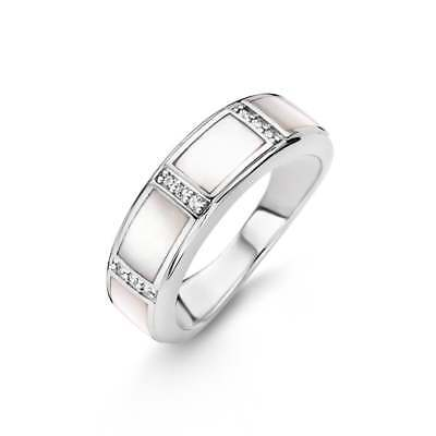 £65 • Buy Genuine Ti Sento Sterling Silver MOP And CZ Set Band Ring 12023MW Size 54 £89