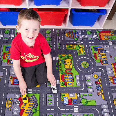 Childrens Kids Rugs Town Road Map City Cars Toy Rug Play Village Mat 100 X 165cm • 17.95£