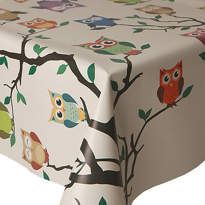 Pvc Table Cloth Owls On Tree Branch Hoot Orange Purple Red Green Wipe Able Cover • 12.99£