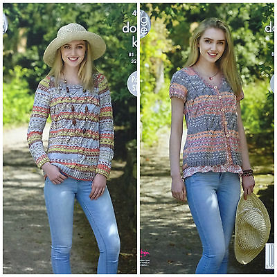KNITTING PATTERN Ladies Round Neck Jumper & Cardigan Drifter DK King Cole 4955 • 3.95£