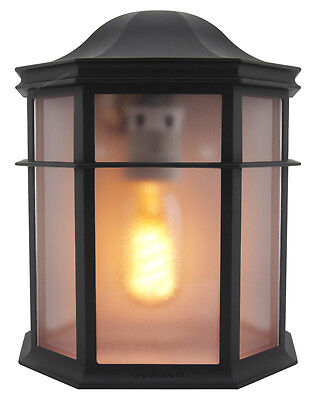 Vintage Outdoor Wall Light Black Flush Mount Frosted Glass Style Lantern ZLC080 • 12.99£