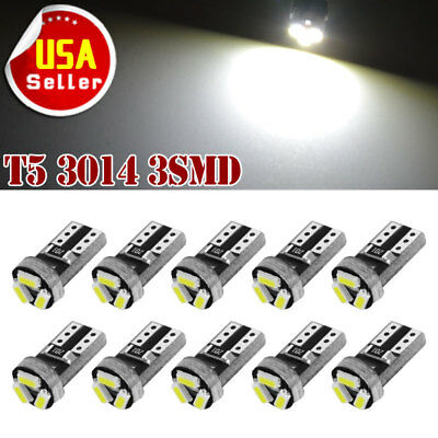 $6.29 • Buy 10x White T5 3SMD LED Instrument Dashboard Light Bulbs 17 18 27 37 58 70 73 74