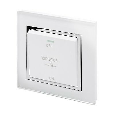RetroTouch Triple Pole 10A Fan Isolator Switch White Glass CT 01731 • 30.95£