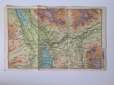 Environs Of Keswick, The Lake District C1922 Antique Map Bartholomew, No.7 • 6.95£