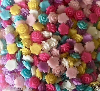 £1.99 • Buy 40 X 6-7mm Small Resin Rose Flower Flat Back Cabochon Assorted Colours FREE POST