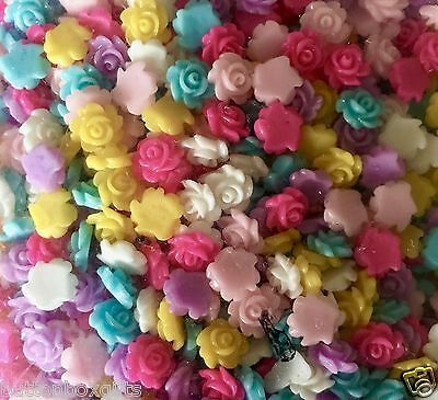 40 X 6-7mm Small Resin Rose Flower Flat Back Cabochon Assorted Colours FREE POST • 1.99£