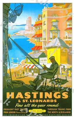 £5.13 • Buy Vintage British Rail Hastings Railway Poster A4/A3/A2/A1 Print