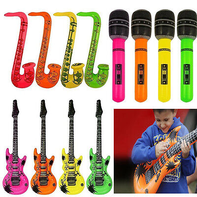 Inflatable Toy Guitar / Microphone / Saxophone Musical Blow Up Instruments • 1.99£
