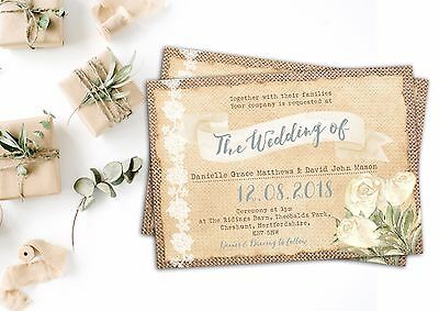 Personalised Rustic Wedding Invitations BURLAP/LACE/IVORY ROSE Packs Of 10 • 2.76£