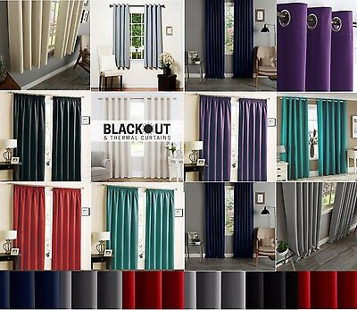 Thermal Blackout Curtains Ready Made Eyelet Ring Top Or Pencil Pleat + Tie Backs • 34.99£