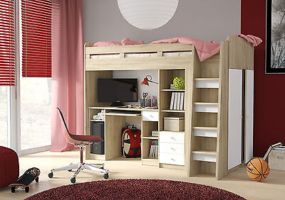 Combi Sleep Station Bed With Wardrobe, High / Mid Sleeper With Workstation  • 499£