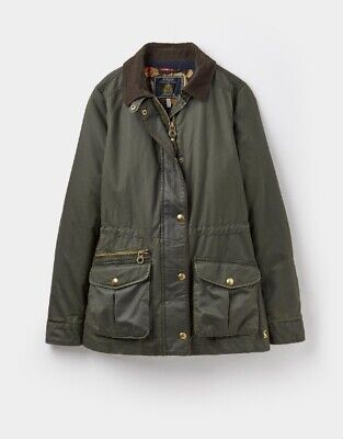 Joules Ladies Balmoral Wax Style Jacket In Evergreen In Various Sizes • 139£