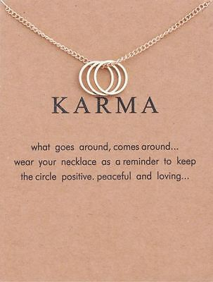 £3.36 • Buy -UK- Three Ring And Tone Karma Chain Necklace With Eternity Ring. Gift Bag