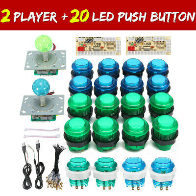 $39.24 • Buy 2 Players DIY Arcade Joystick Kit PC Game USB Controller LED Push Button Cables