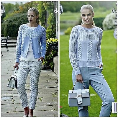 KNITTING PATTERN Ladies Round Neck Lace&Cable Jumper &Cardigan DK King Cole 4936 • 3.95£