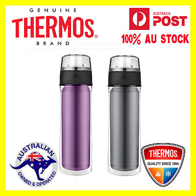 AU26.99 • Buy NEW THERMOS DOUBLE WALL HYDRATION BOTTLE 530ml Drink Flask PURPLE OR GREY