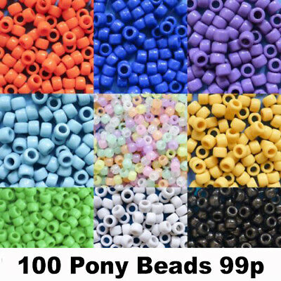 £0.99 • Buy Pony Beads 6mm X 8mm All Colours Hair Braids Dummy Clips 100 Pack