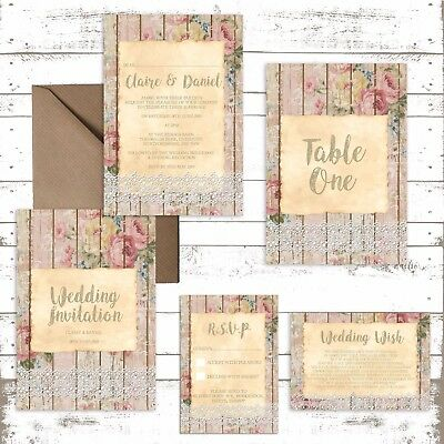 Personalised Luxury Rustic Wedding Invitations WOOD, LACE & FLORAL Packs Of 10 • 2.76£